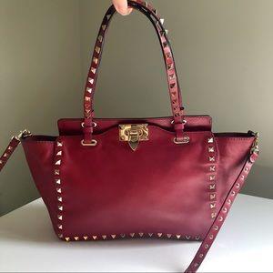 Valentino red small trapeze rockstud tote handbag